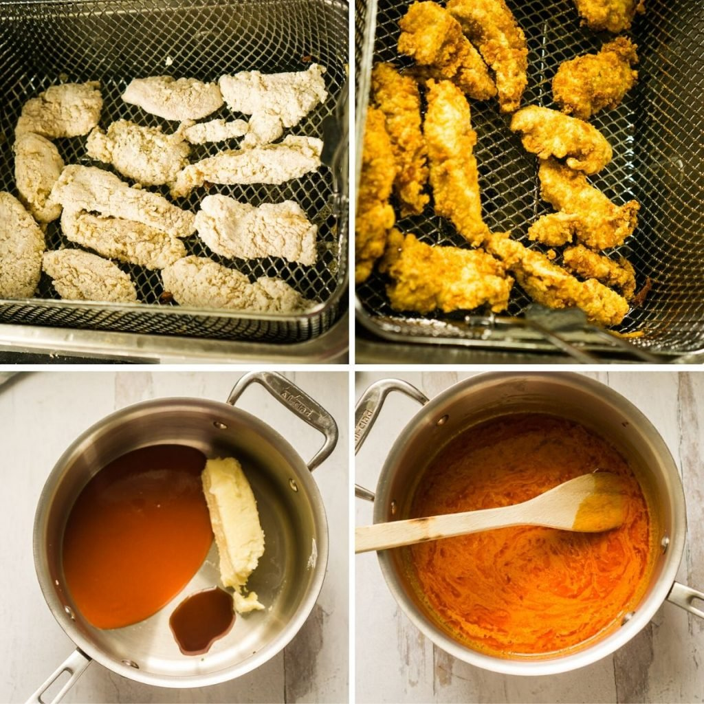 grid of 4 images- chicken tender in deep fryer basket before cooking, fried chicken tenders, pot with butter, hot sauce and worchestershire sauce, and pot with all ingredients melted