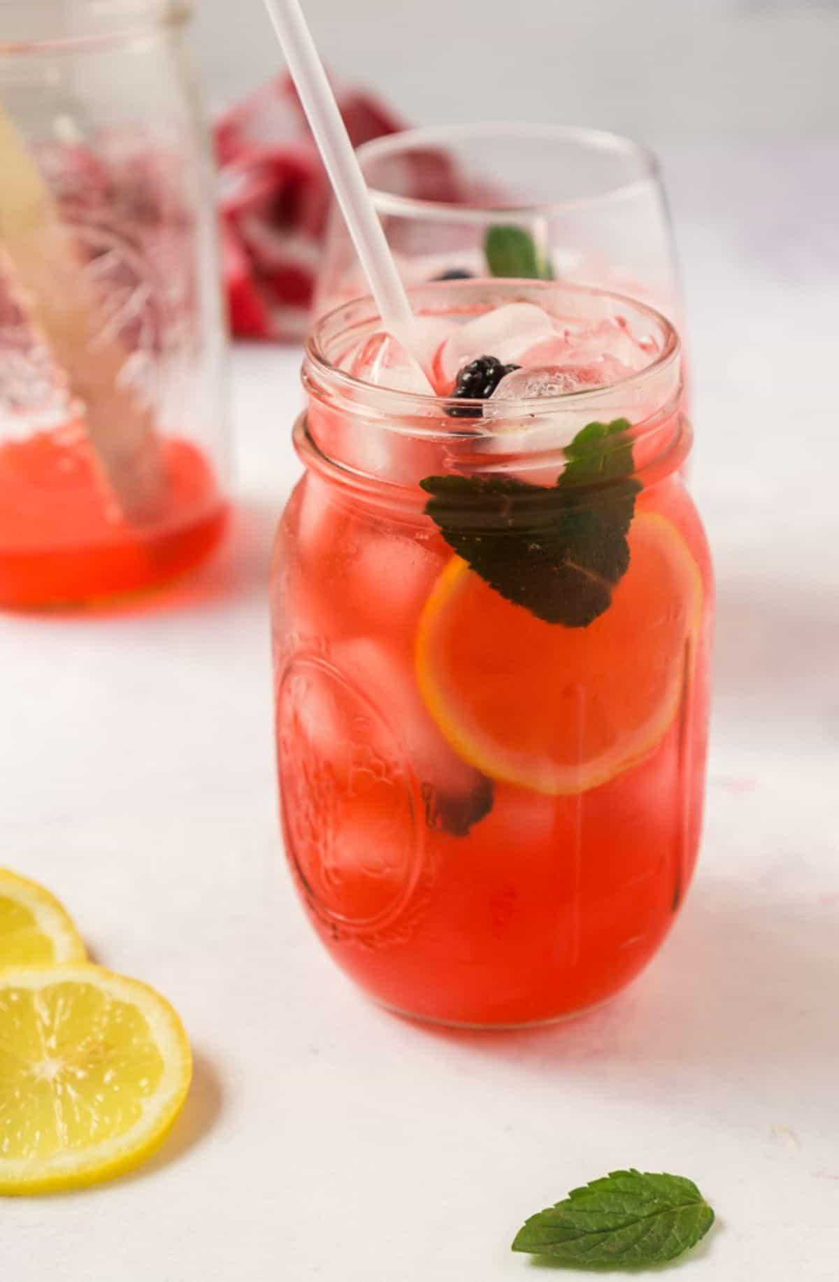 blackberry lemonade in mason jar