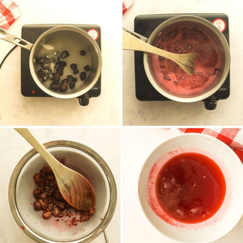 grid of 4 images: blackberries in saucepan, syrup bubbling, straining berries, finished syrup