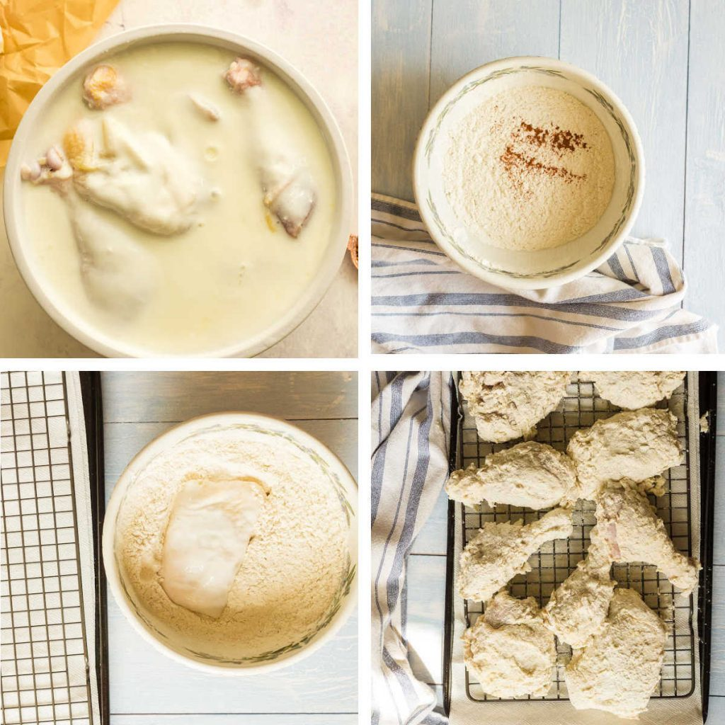 grid of 4 images: soaking chicken in buttermilk, mixing flour and seasoning, breading chicken, letting it chill on baking rack