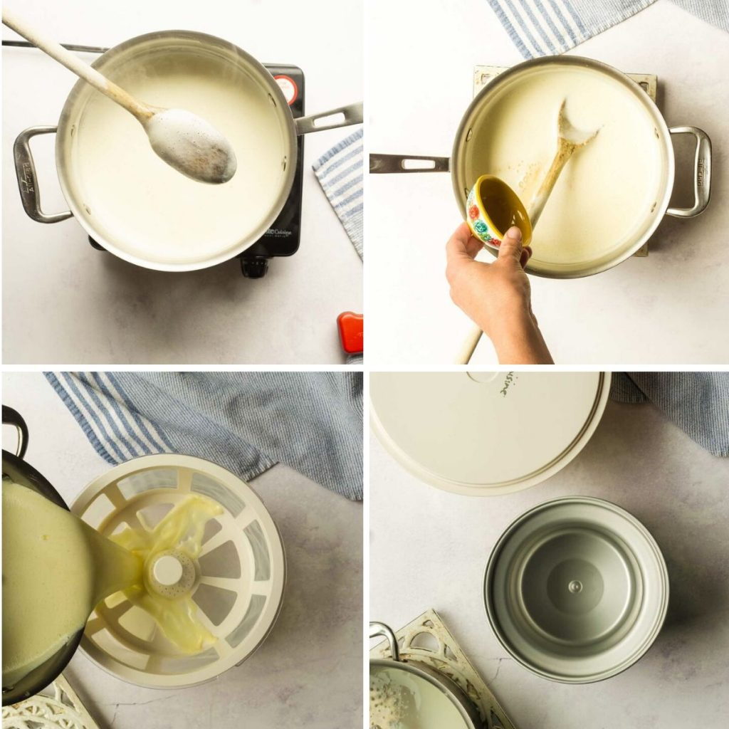 grid of 4 images: custard coating back of spoon, vanilla poured into custard, straining, things to chill in freezer