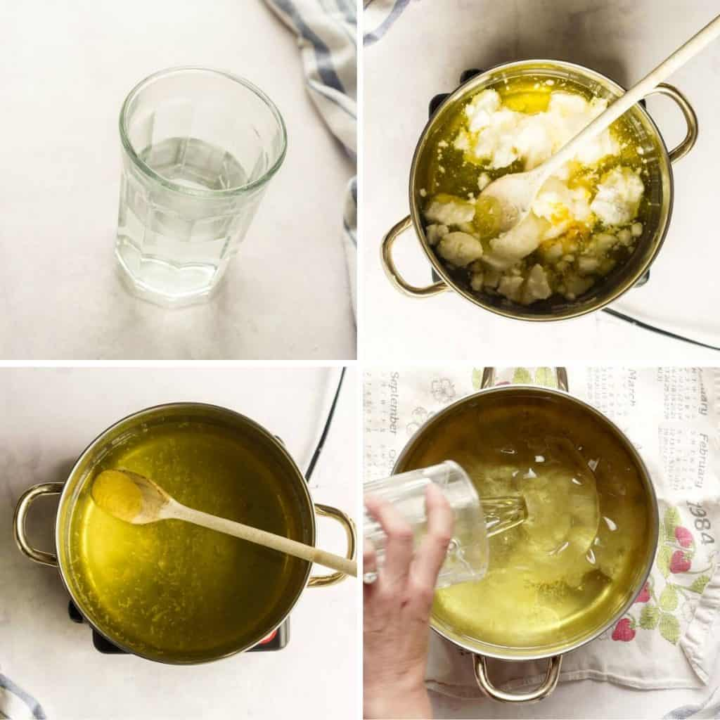 grid of 4 images: cup of lye water, pot of oils, lemon zest added to oils, lye water being poured into oils
