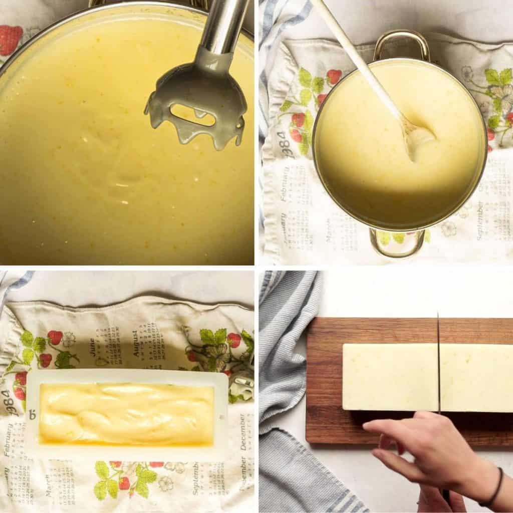 grid of 4 images: stick blend in soap batter, stirring lemon zest in by hand, soap batter in mold, unfolded soap being sliced