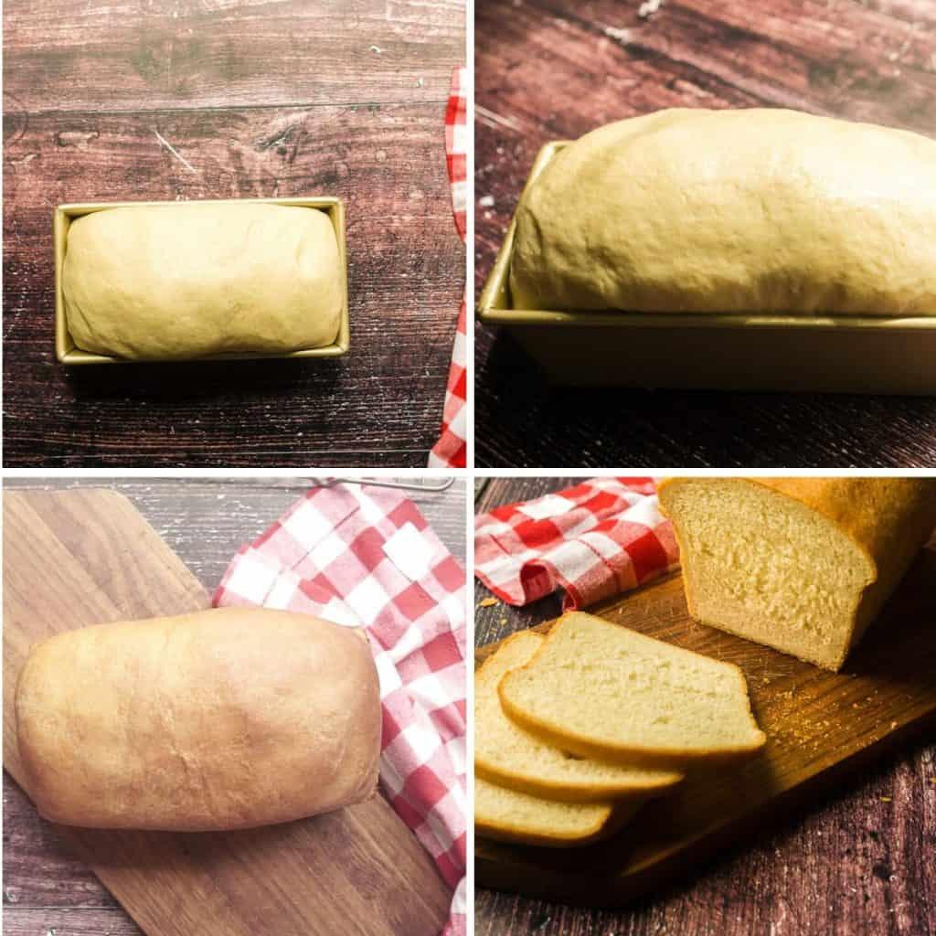 4 images- risen dough in loaf pan, baked loaf of milk and honey bread, sliced loaf