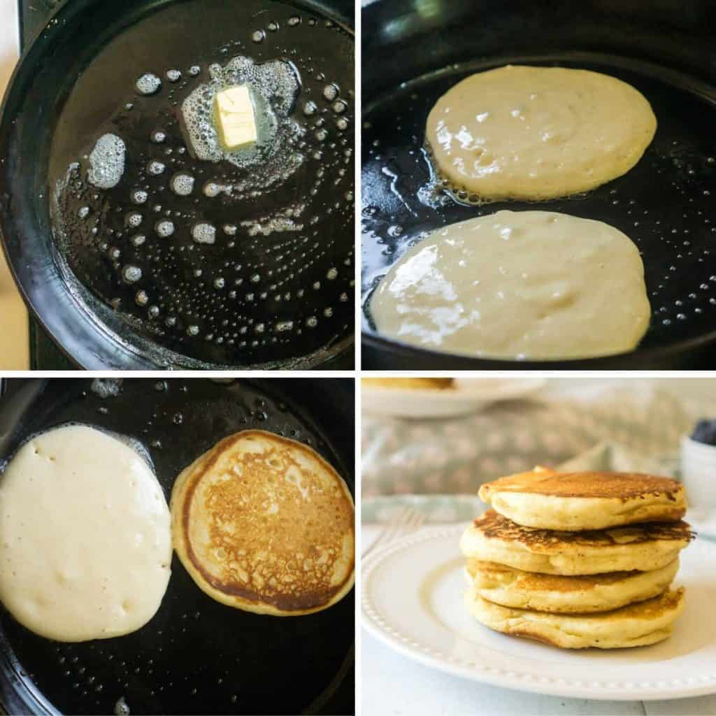 grid of 4 images: cast. iron skillet with butter, pancake batter on skillet, one side browned, stack of 4 sourdough pancakes
