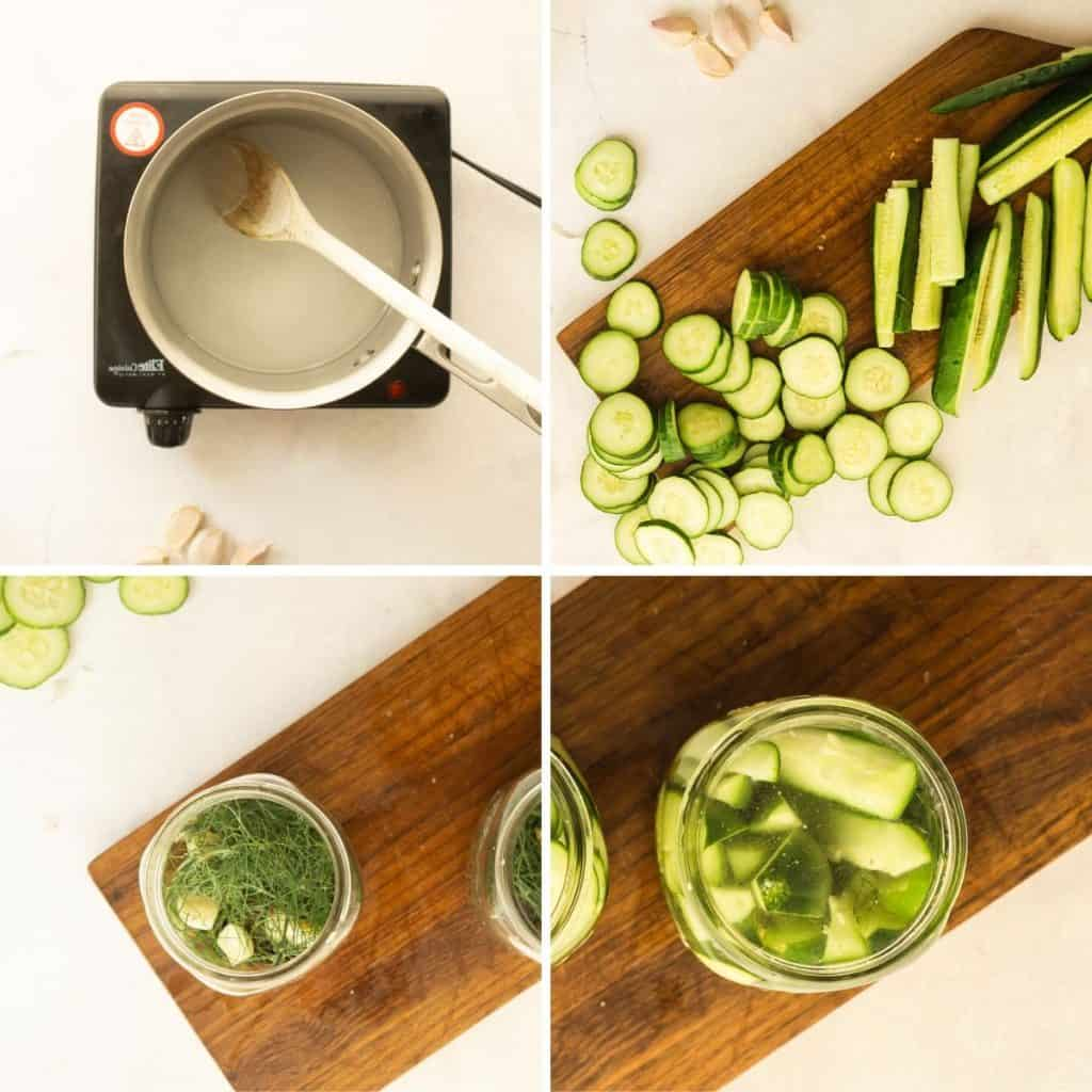 grid of 4 images: making brine on stovetop, slicing pickling cucumbers, packing spices and cucumbers into jars, pouring brine on top