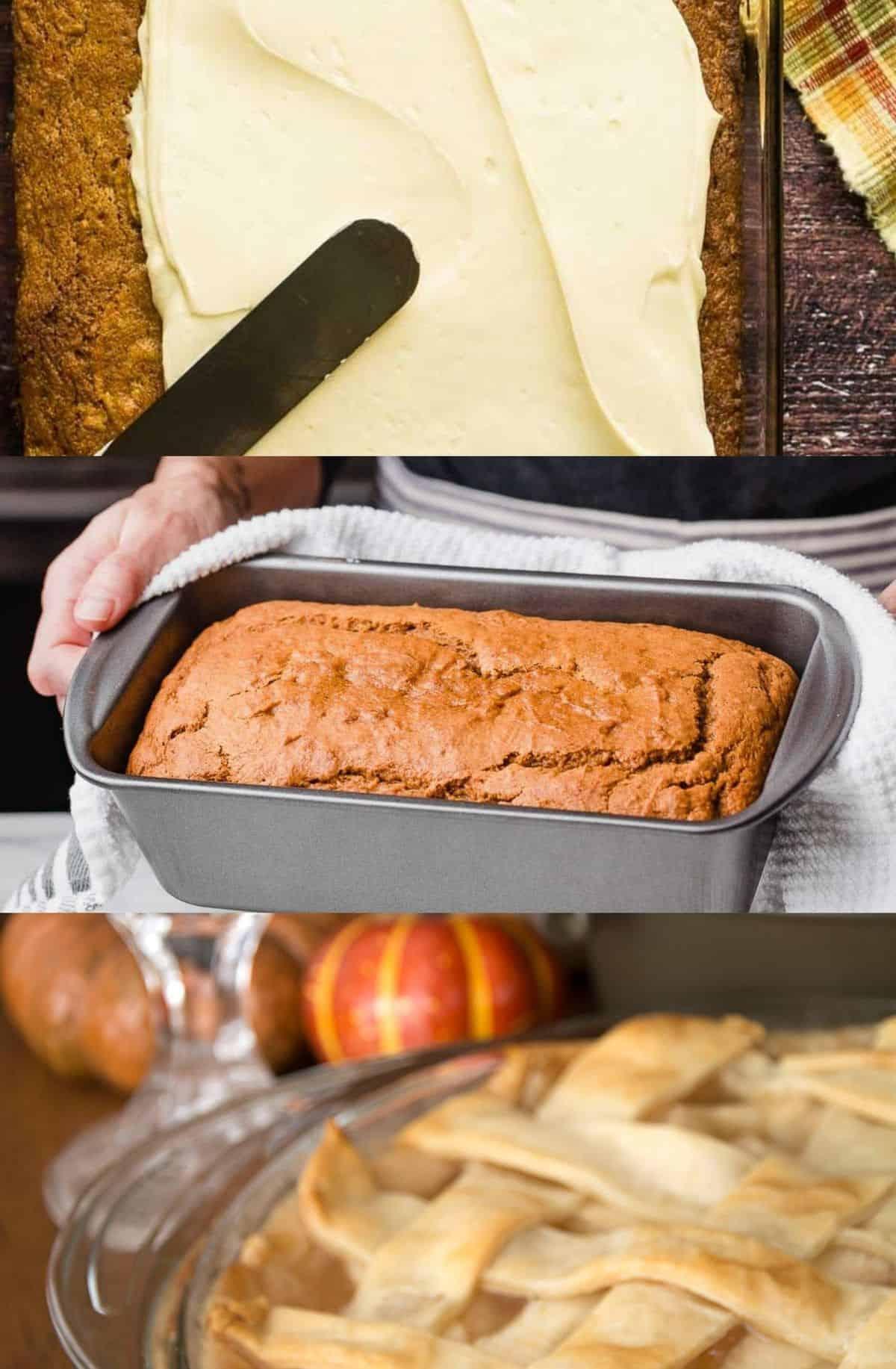 3 images: apple cake, sourdough pumpkin bread, sourdough pie crust