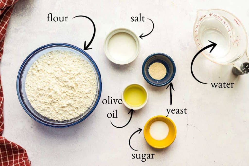 bowls of salt, yeast, water olive oil, and sugar
