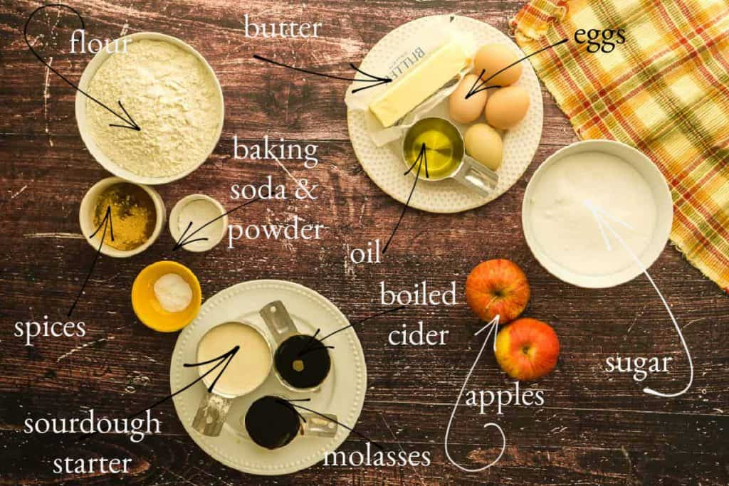 wooden surface with apples, sourdough starter, flour, spices, eggs, and other ingredients