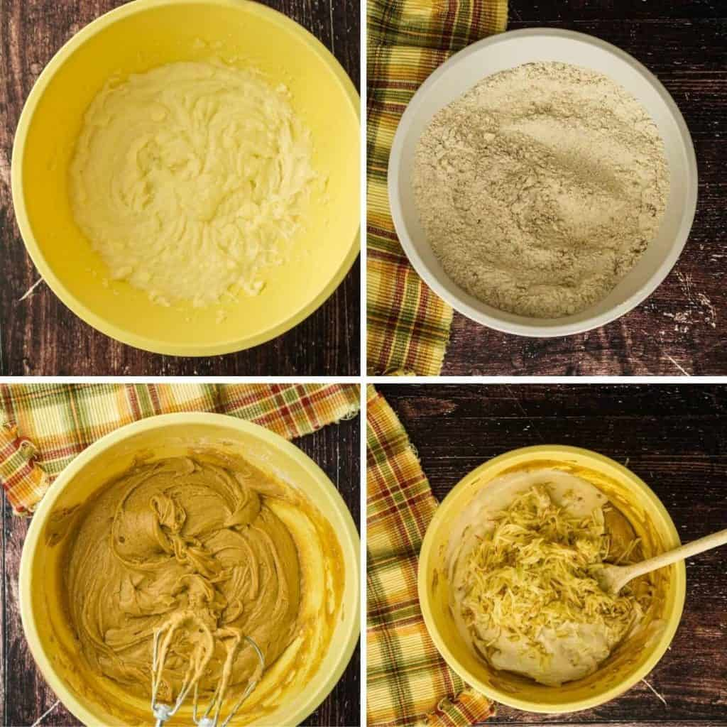 4 images: beating butter and sugar, mixing dry ingredients, mixing up batter, adding sourdough starter and grated apple