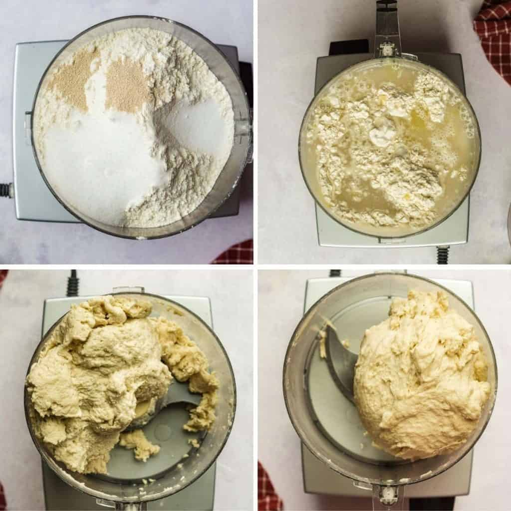 grid of 4 images of pizza dough in process shots- adding ingredients, kneading dough