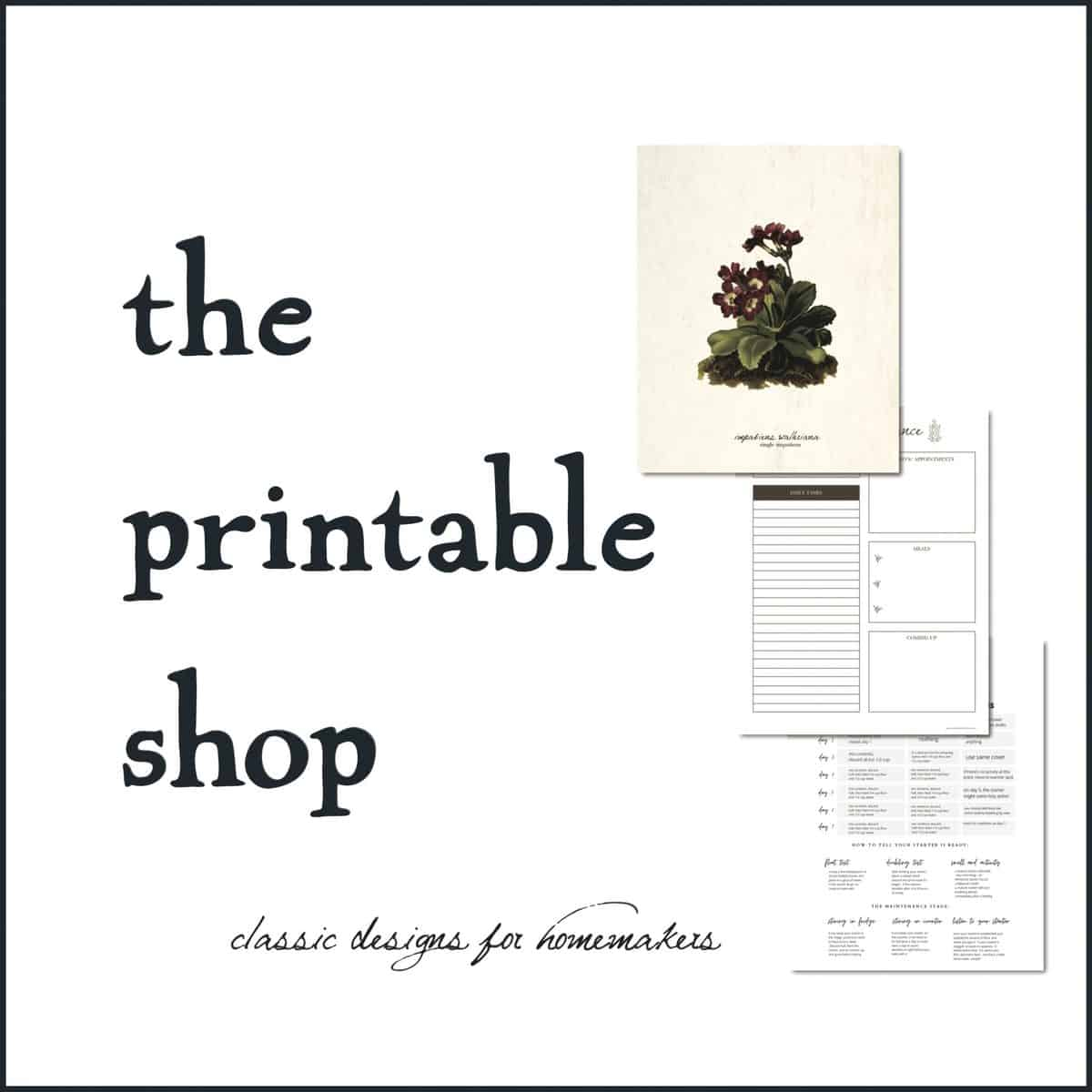 vintage style printable on graphic for shop