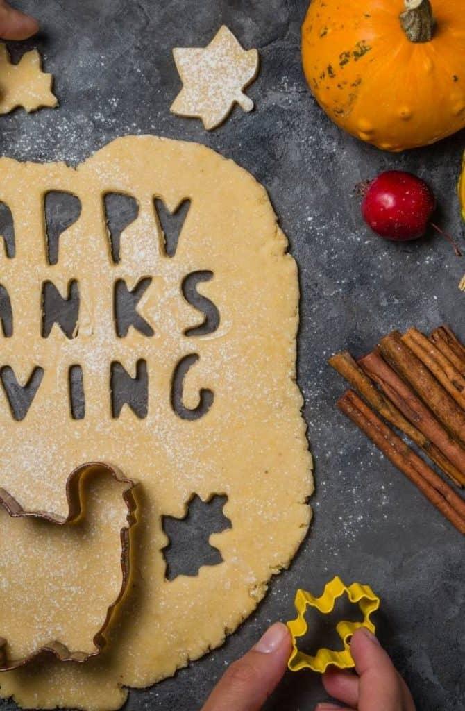 thanksgiving pie crust on black counter