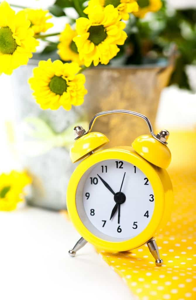 yellow vintage alarm clock with flowers