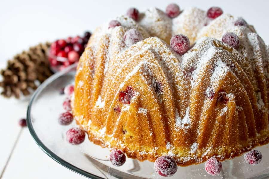 cranberry cake with pinecone