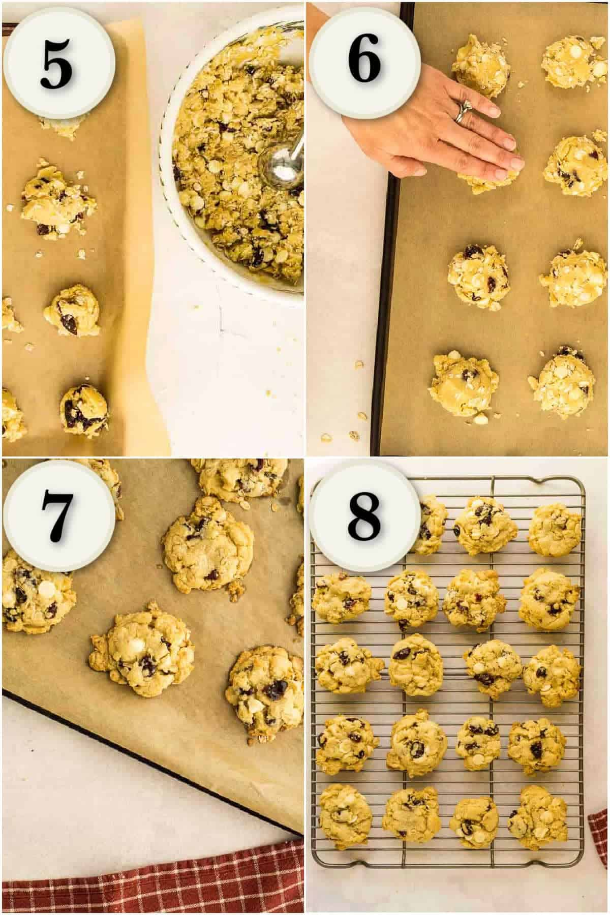 shaping cookie dough, baking, and cooling on wire rack