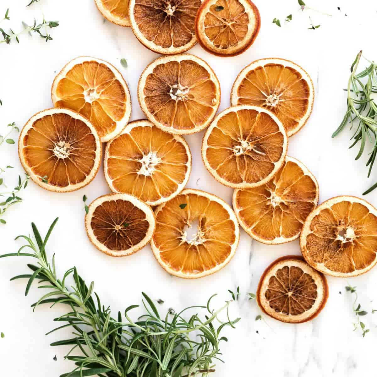 dried oranges on kitchen counter