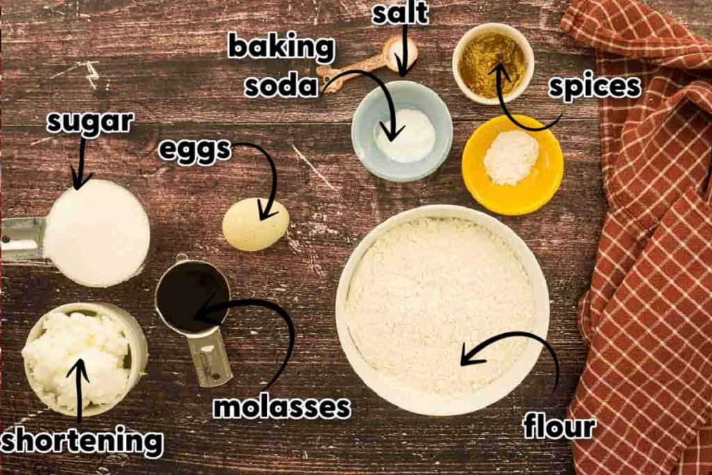 ingredients for cookies on wooden surface