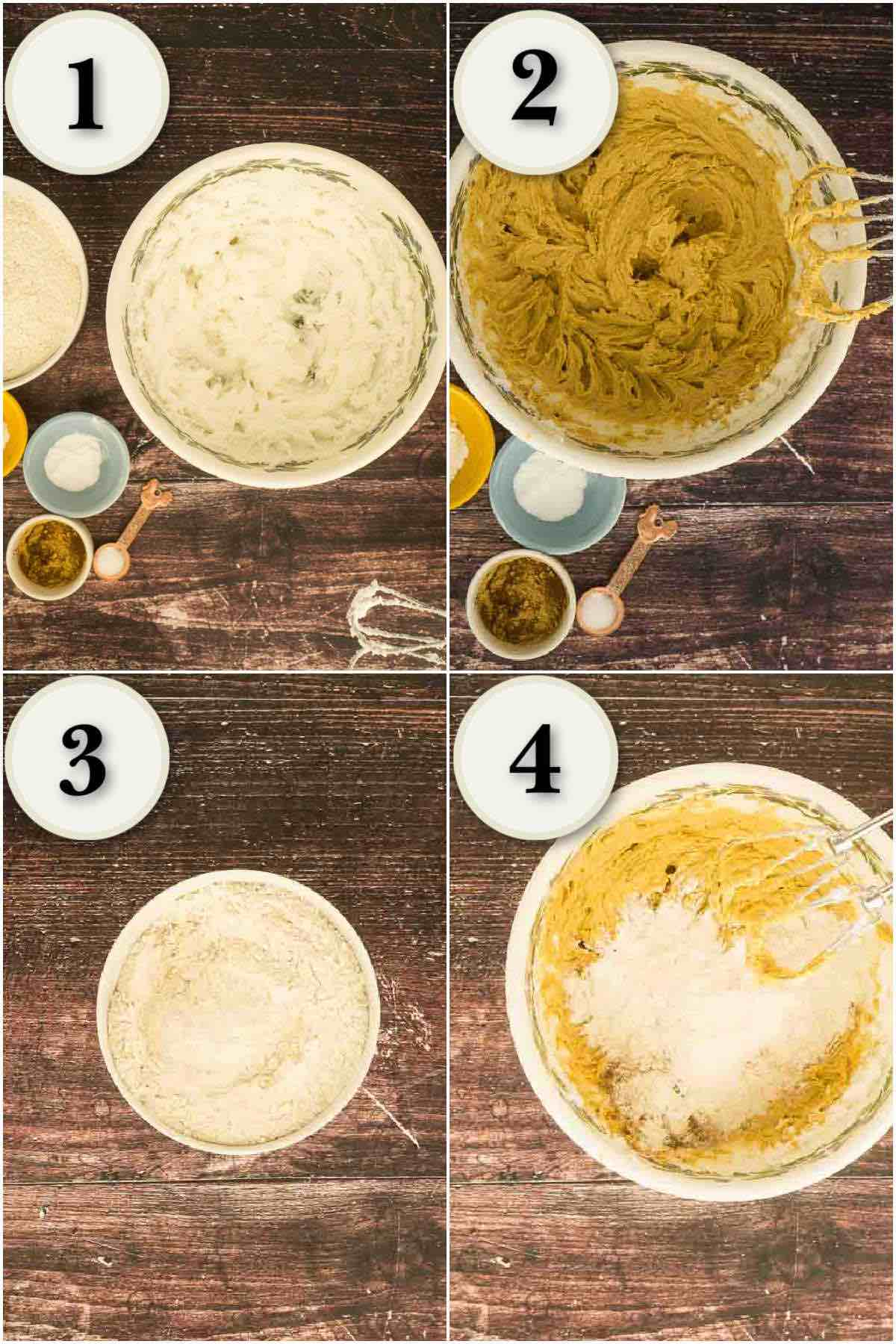 grid of 4 process shots- beating shortening, mixing and adding dry ingredients