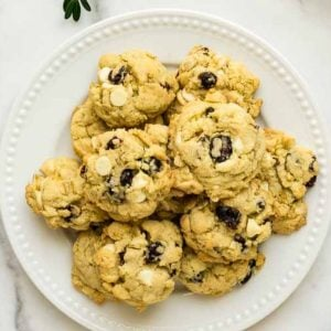 plate of oatmeal white chocolate cookies with cranberries