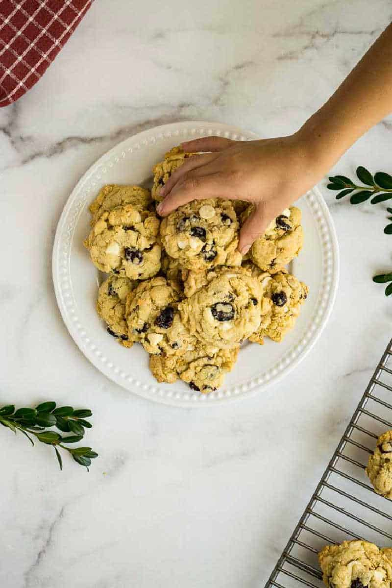 white chocolate cranberry oatmeal cookies on plate