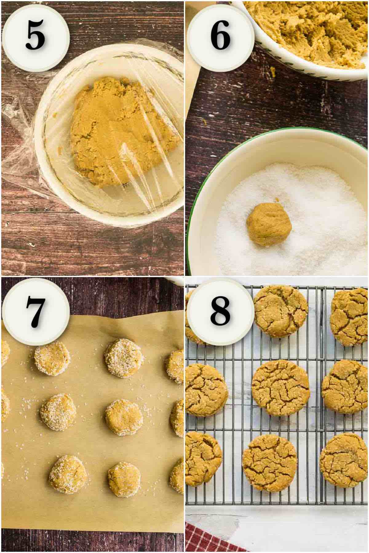 grid of 4 images- cookie dough in bowl chilling, being rolled in sugar, and baked