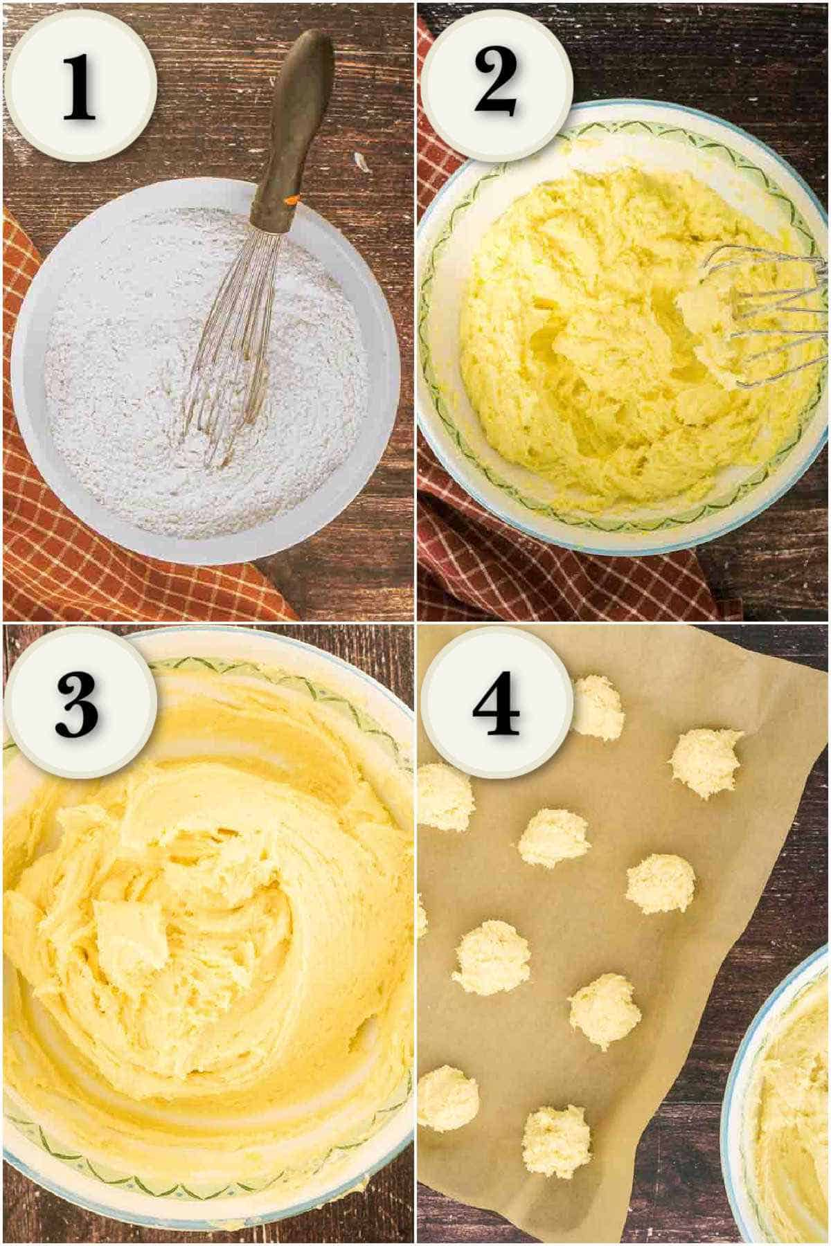 grid of 4 images: mixing dry ingredients, creaming butter, scooping cookie dough