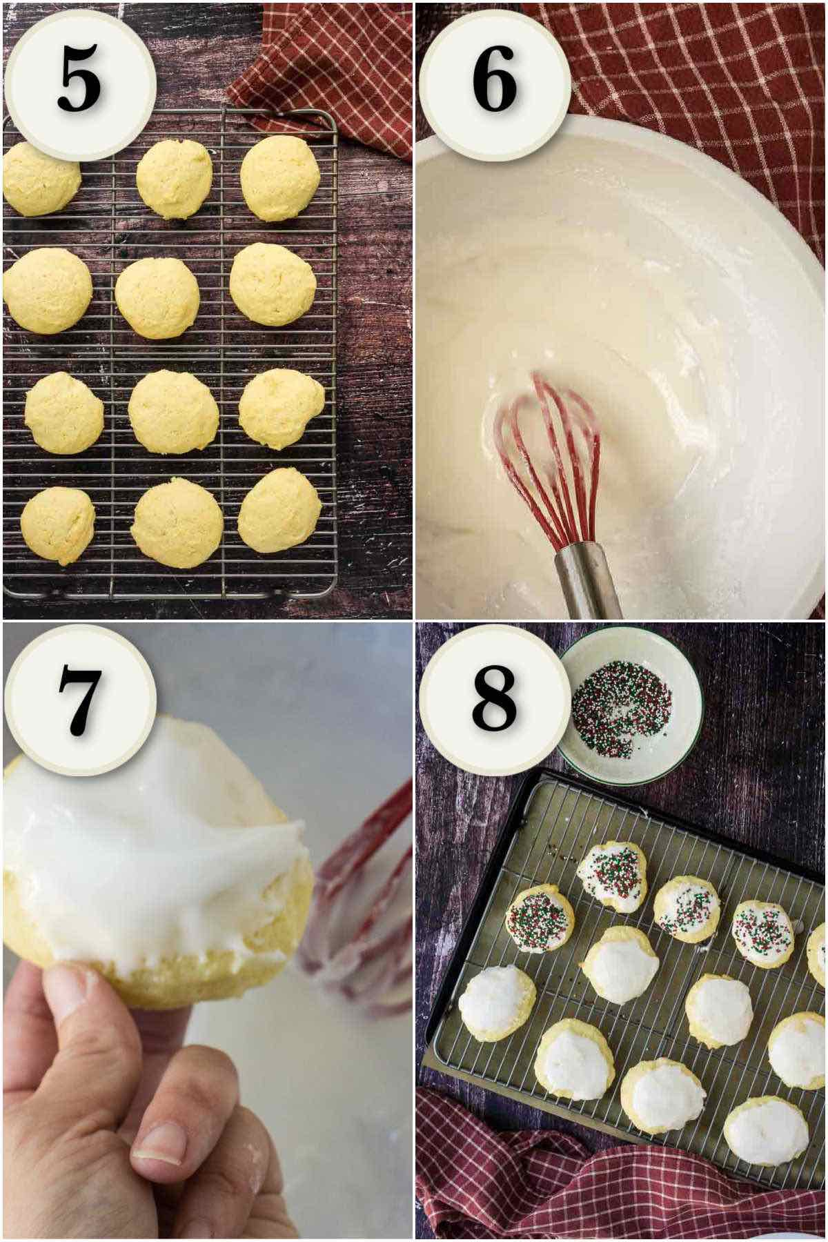 grid of 4 images- baked cooking, mixing glaze, finished sour cream cookies