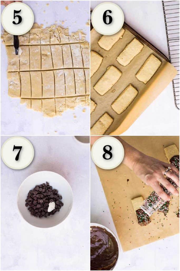 cutting cookies, baking, melting chocolate, adding sprinkles