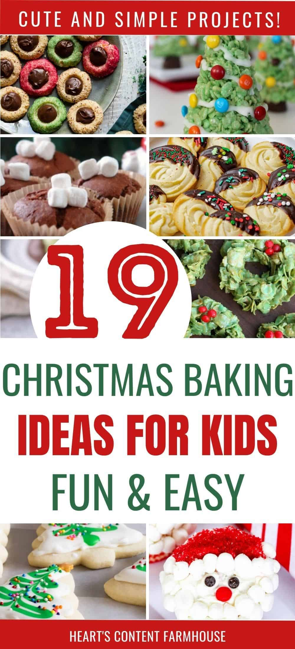 collage image of kids holiday baking ideas