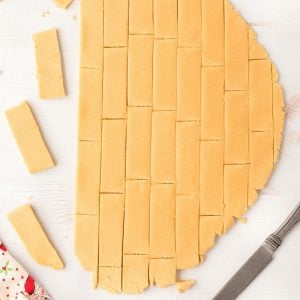 rectangles cut out of cookie dough