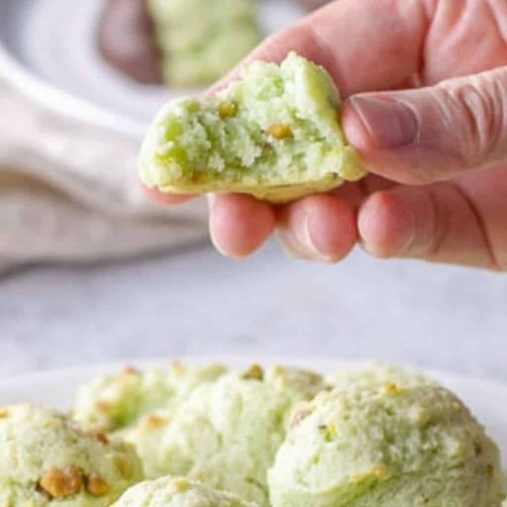 pistachio cookies with bite missing