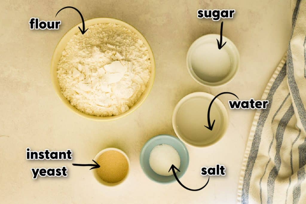 all-purpose flour, sugar, water, instant yeast, and salt in bowls