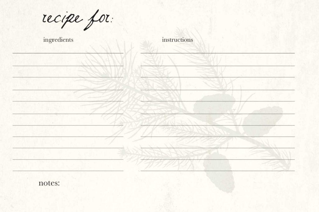 recipe card with pine tree brand