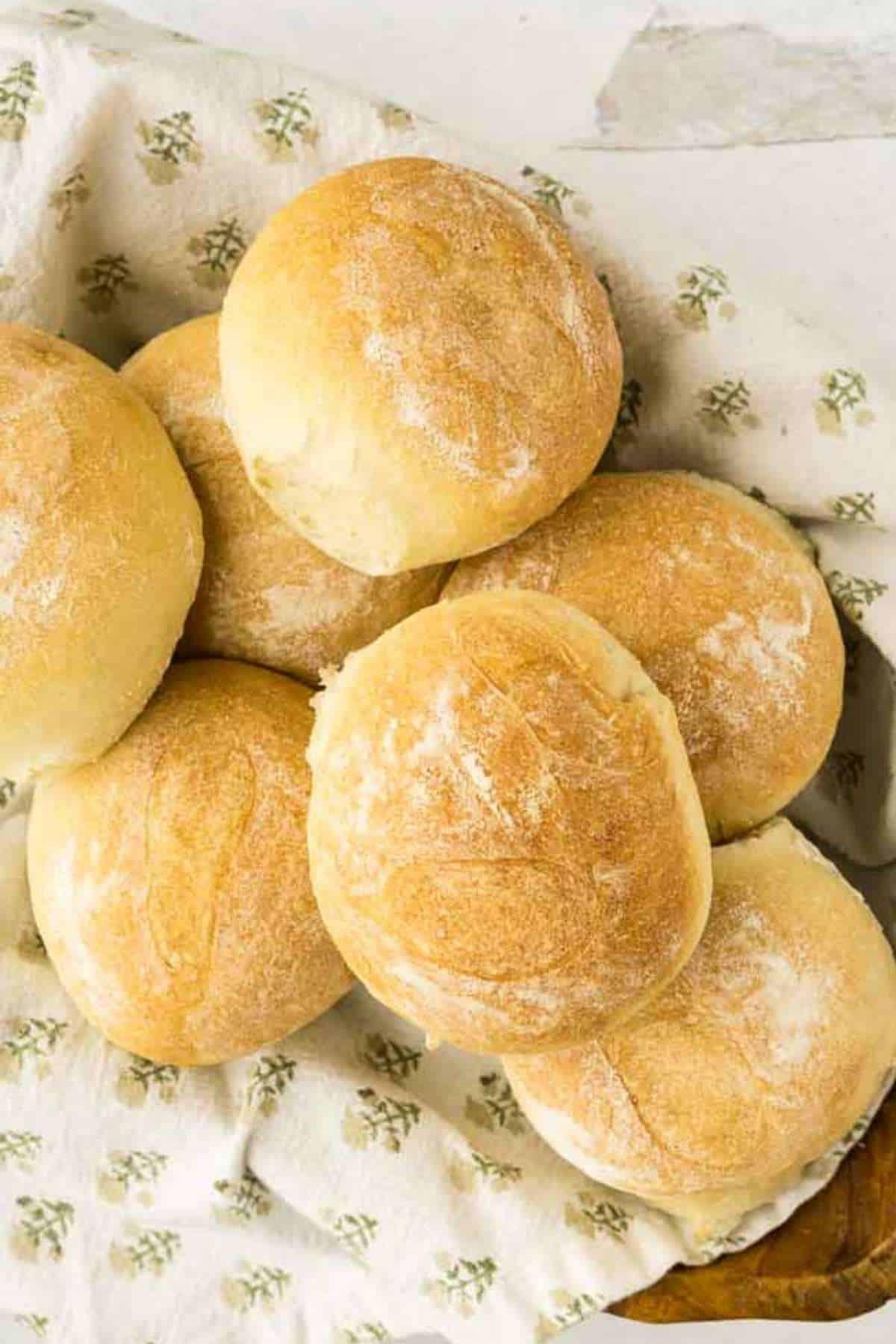 bread machine sandwich rolls in wooden bowl