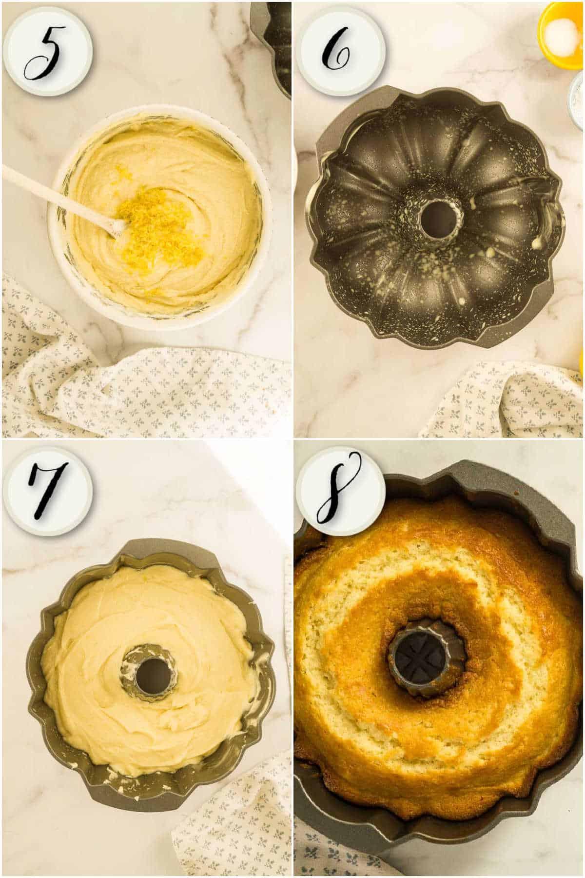 adding lemon zest, preparing bundt pan, smoothing cake batter, baked cake