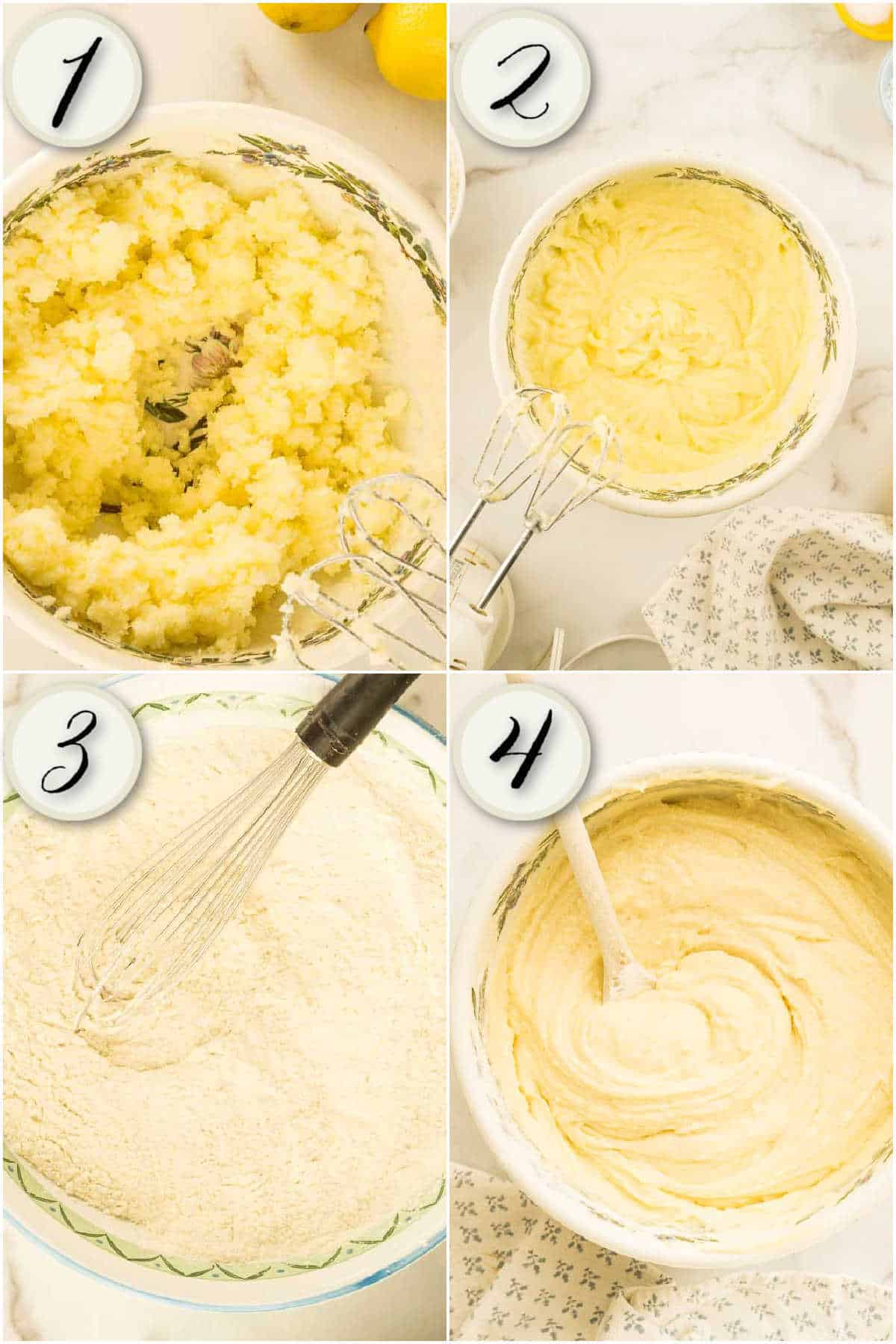 grid of 4 images: beating butter and sugar, adding eggs, mixing dry ingredients, and stirring batter