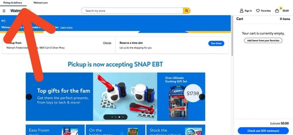 screenshot of Walmart plus pickup screen
