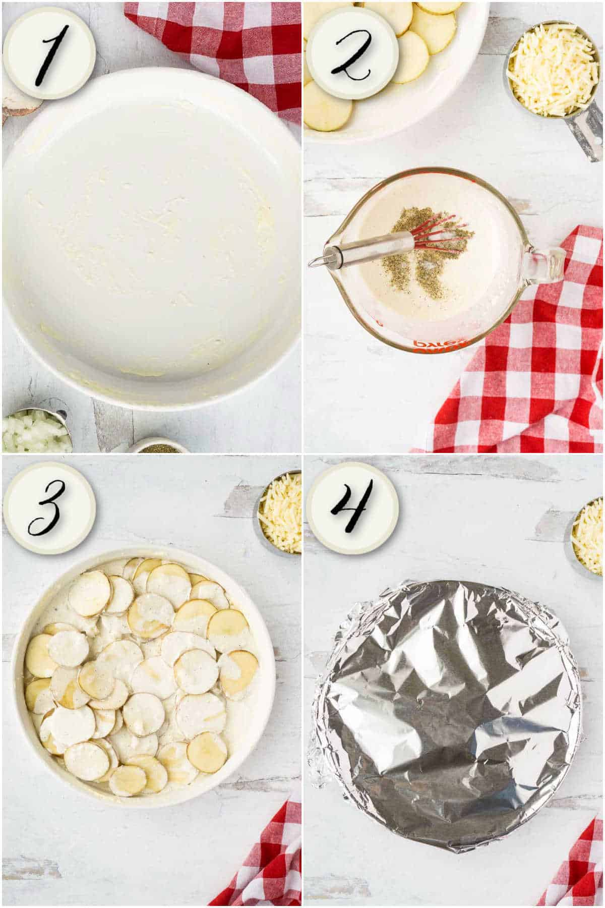 grid of 4 images: buttered casserole dish, bowl with milk, sliced potatoes, milk poured over top