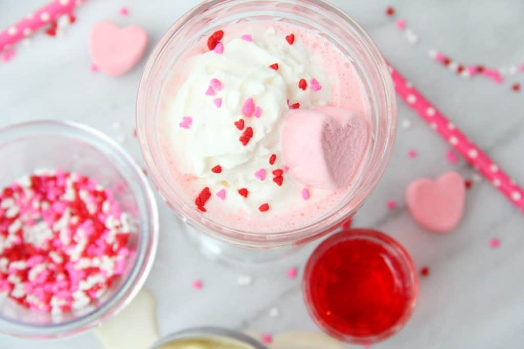 pink drink with heart sprinkles