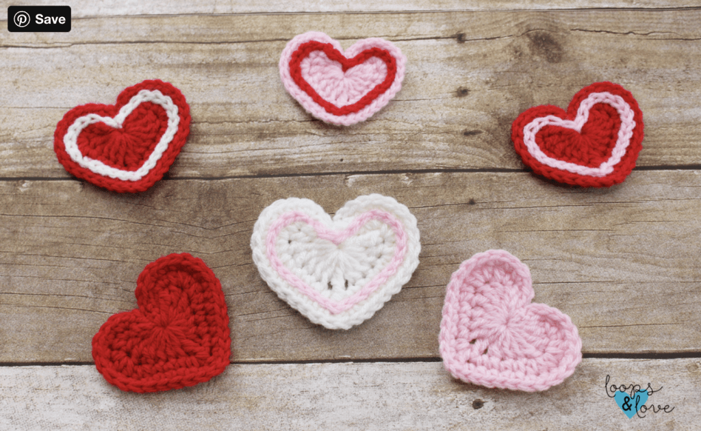 pink red and white crochet hearts