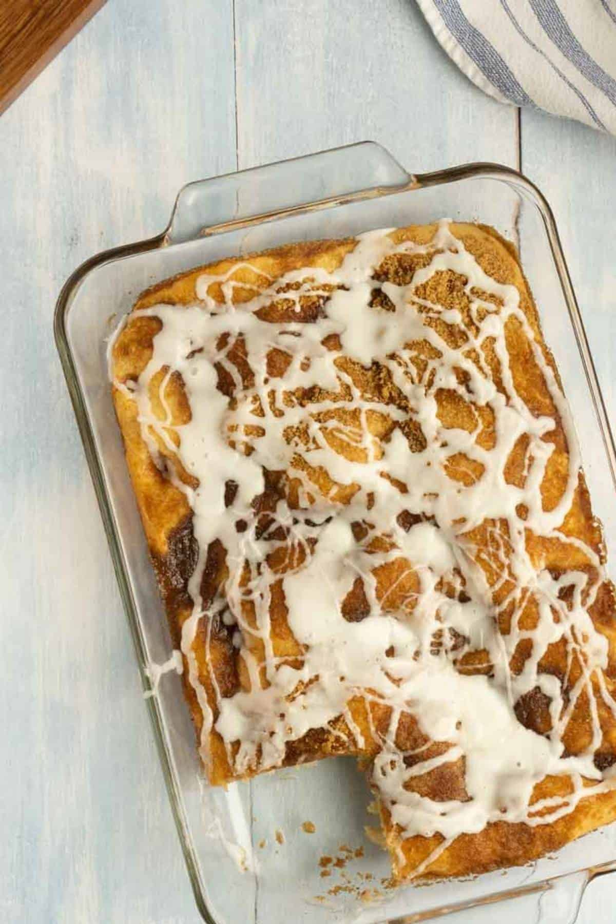clear casserole dish with sweet coffee cake