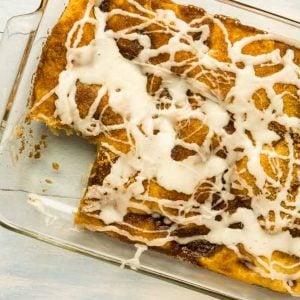 9 x13 dish with glazed breakfast cake