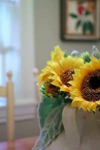 sunflowers on table