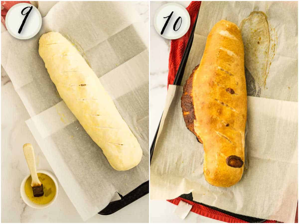 pepperoni bread brushed with egg, then baked