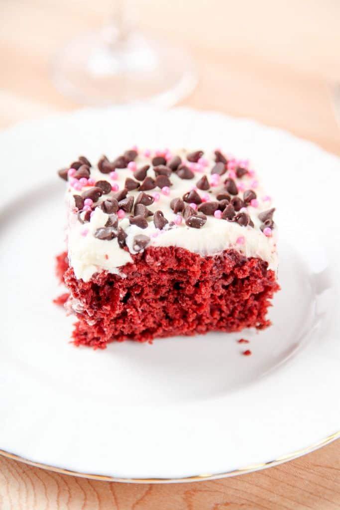 slice of red velvet sheet cake