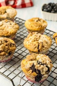 Sourdough Blueberry Muffins with Streusel Topping
