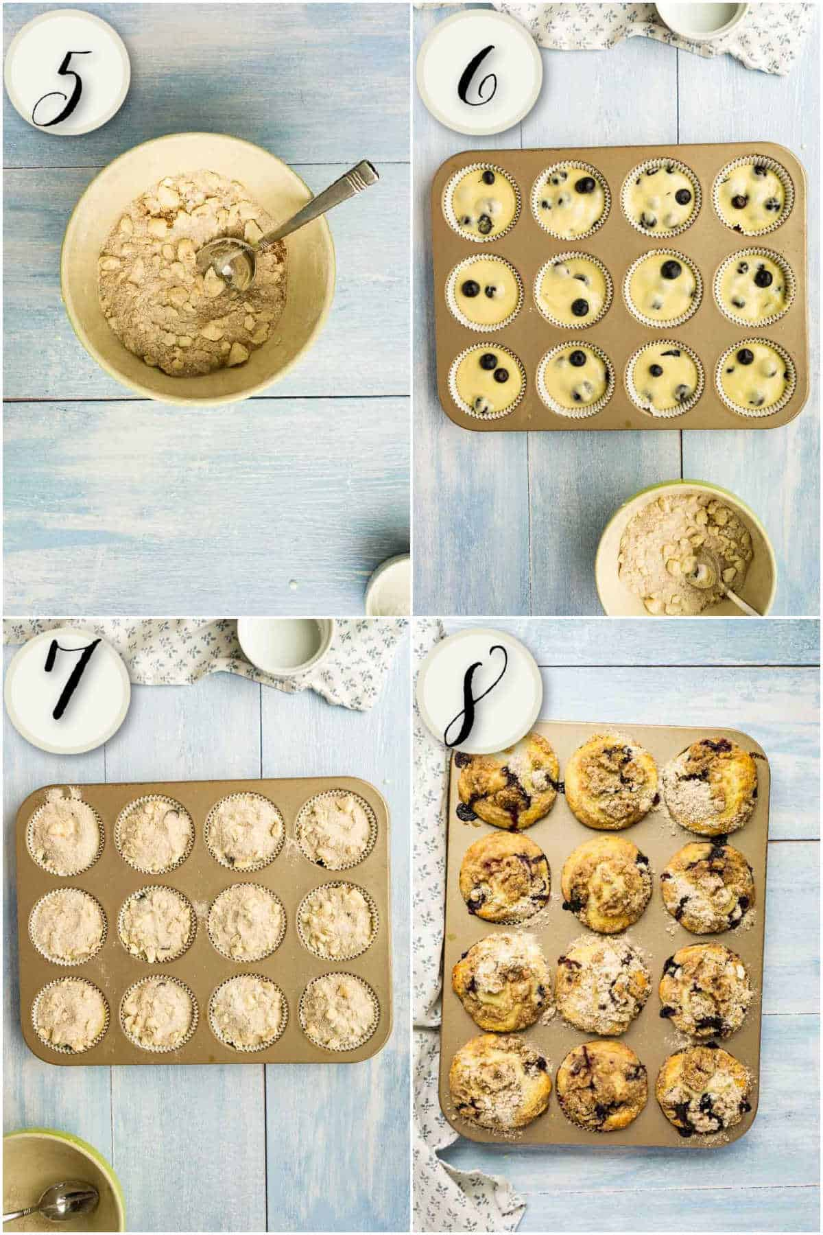 4 images showing mixing crumb topping, adding to muffin batter, fully baked blueberry muffins in tin