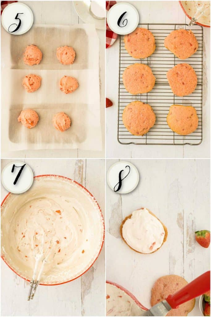 scooped batter, baked whoopie pies, strawberry filling, assembling cakes