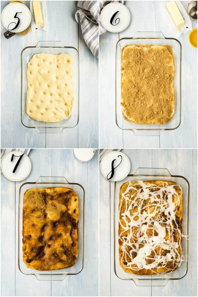 coffee cake dough in baking dish, topping with cinnamon sugar, baked cake, finished bread machine coffee cake
